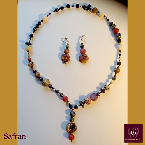 Safran - SET Earrings & necklace. Coralle, Labradorite, Tiger-eye, Wood, Brass