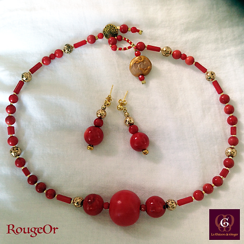 RougeOr - SET Earrings & necklace. Coral, Agate, Brass & Volcanic Stones