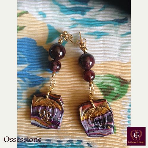 Ossessione -  Earrings. Garnet & Handmade imprinted beads with 24k gold