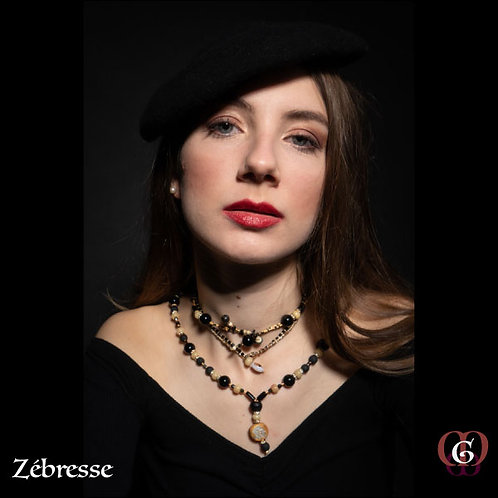 Zébresse. Set 3 Necklaces/ Earrings. Onyx, Tigereye, Wood, Horn, Volcanic Stones
