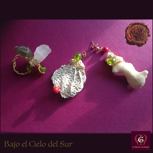 Bajo el Cielo del Sur. Earrings & Ring. Labradorite, Olive Quartz, Coral, Quartz