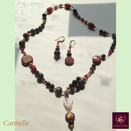 Canelle - SET Earrings & necklace. Nacre, Coral, Amethyste, Granat...