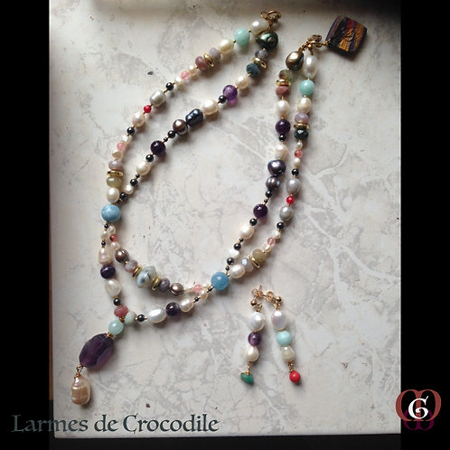 Larmes de Crocodile -  SET Double-Necklace Earrings. Pearls, Amethyst, Agate...