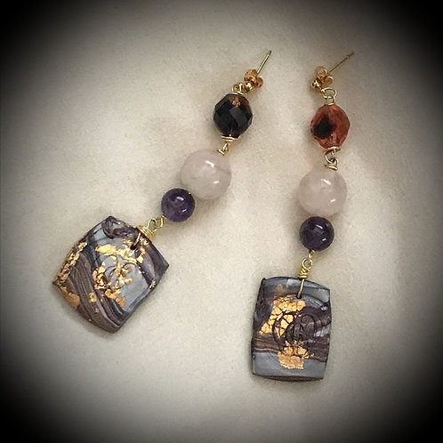 Prélude. Earrings. Amethyste, Quartz, Handmade elements by La Maison de Ginger