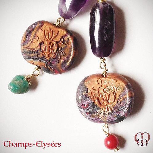Champs Elysées -  Earrings. Amethyste, Coral, Amazonite, Handmade Elements.