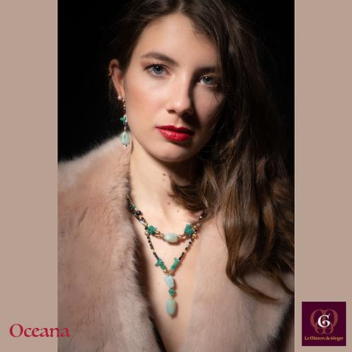 Oceana. Set Necklace, bracelet, earrings. Amazonite, Amethyste, Granat.
