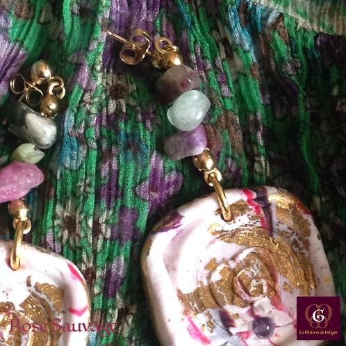 Rose Sauvage -  Earrings. Turmalines & Handmade imprinted beads with 24k gold
