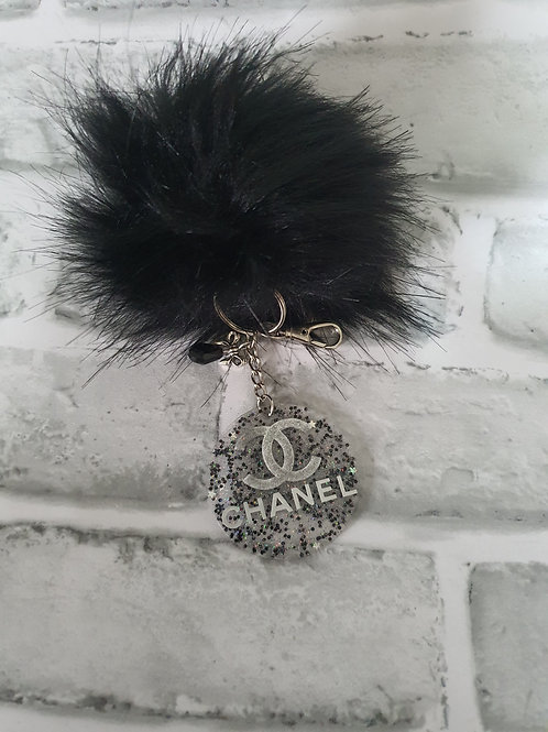 Chanel Inspired Glitter Acrylic Keyring
