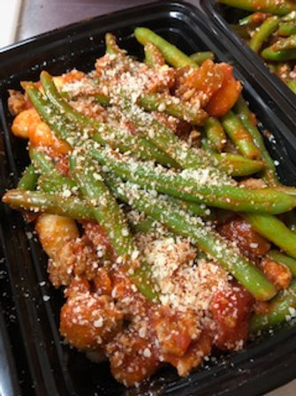 Green Beans and Gnocchi - available vegan or with meat