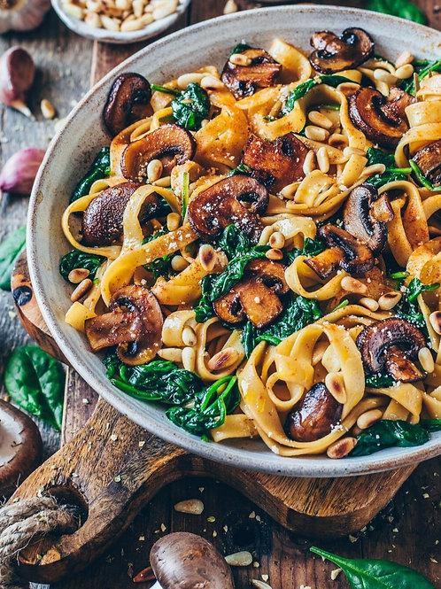 Mushroom Spinach Pasta - vegan