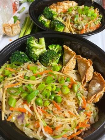 Asian Veggie Noodles served with veggie dumplings & roasted green beans - vegan