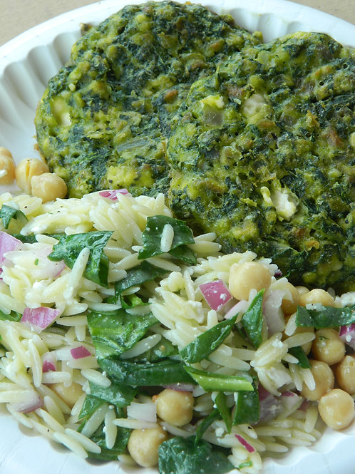 Spinach Feta Patties with Chic pea and orzo pasta