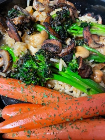 Cashew Broccoli with Mushrooms over Rice