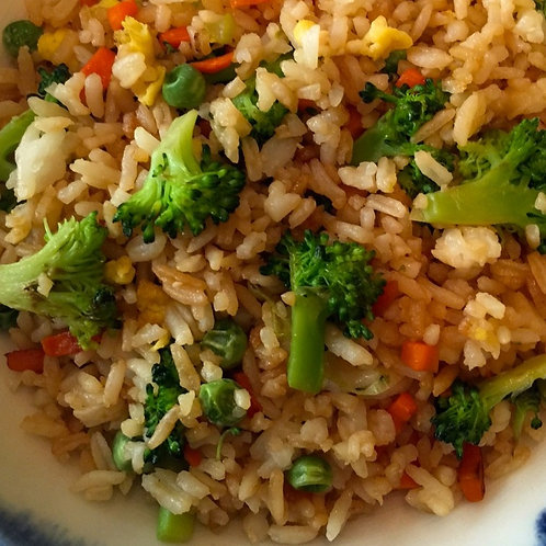 Vegan Fried Rice with sesame green beans and egg rolls