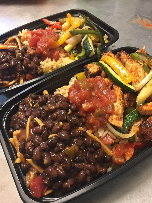 Veggie Fajitas with black beans and rice