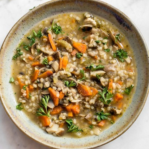 Mushroom Barley Soup - vegan