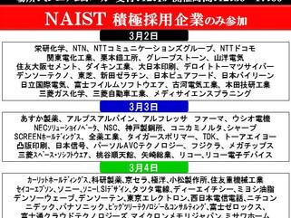 奈良先端科学技術大学院大学 学内合同企業説明会 参加企業