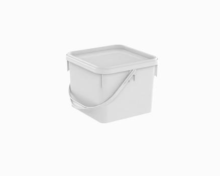 דלי פלסטיק 12 ל' מרובע לבן