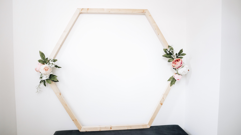 Wooden Floral Hexagon