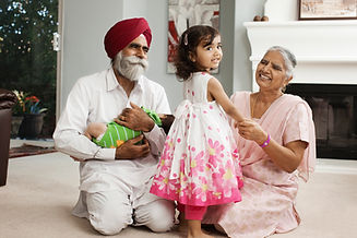 grandfather in Dastar with young grandaughter