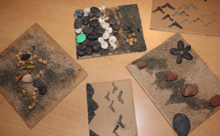 arena y piedra volcánica