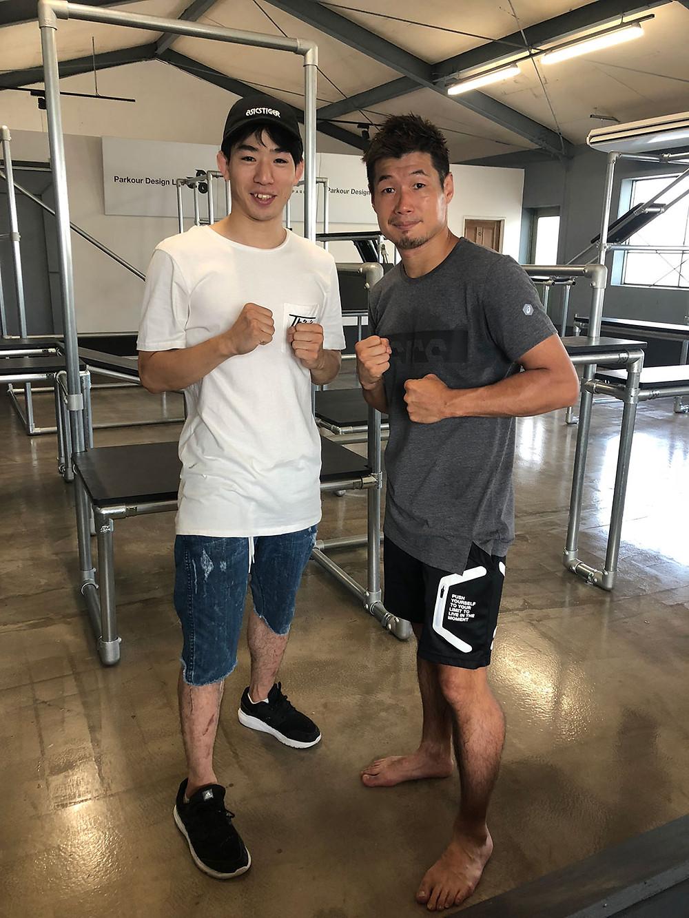 monsterpkのYUUTAROUと元3階級制覇の長谷川穂積選手
