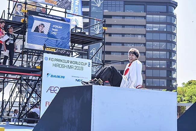TAISHIが広島で行われたパルクール世界大会エキシビジョンに出場