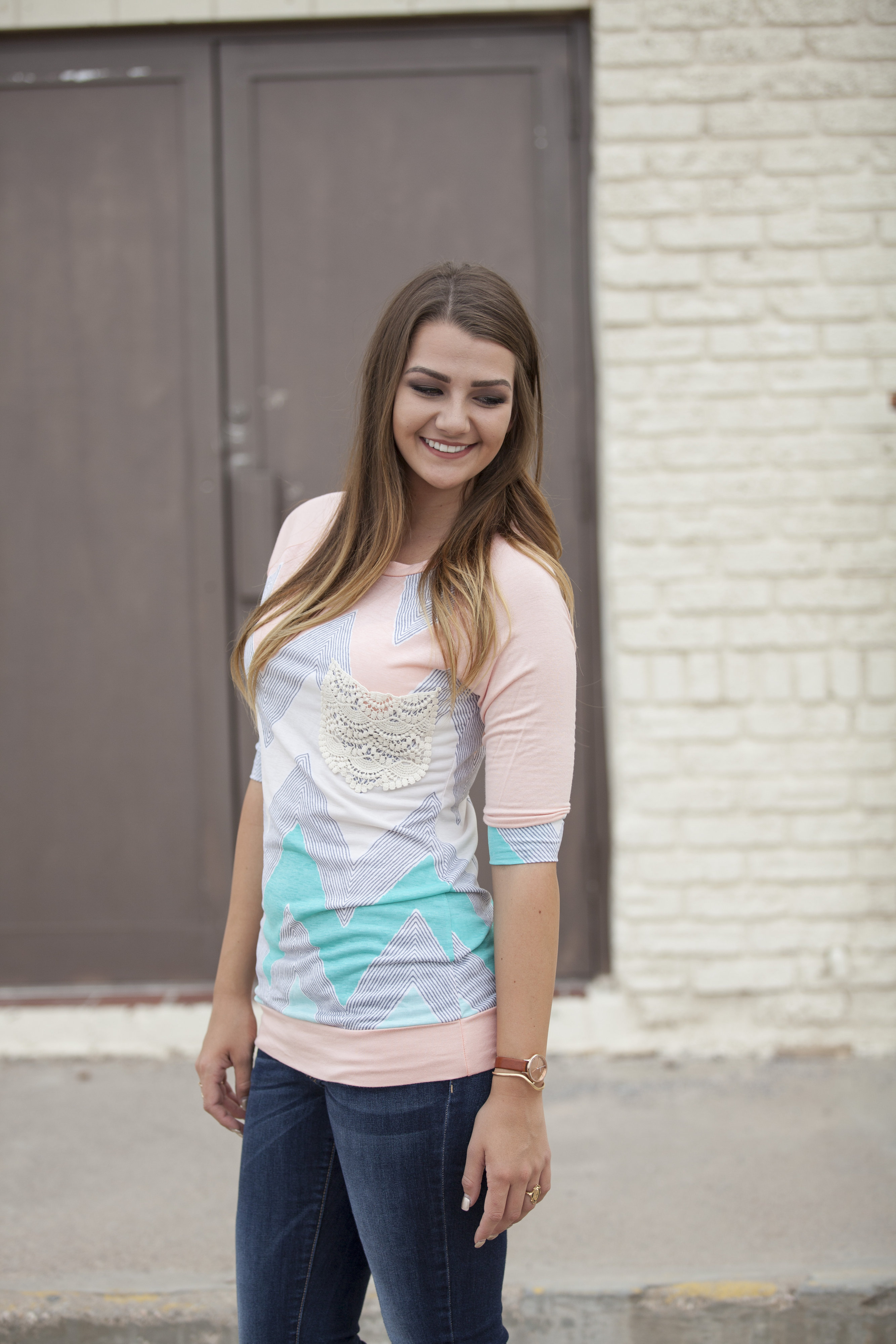 chevron crochet pocket blush 3