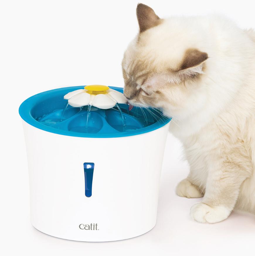Abreuvoir avec veilleuse à DEL et dessus en forme de pétales pour chats CATIT