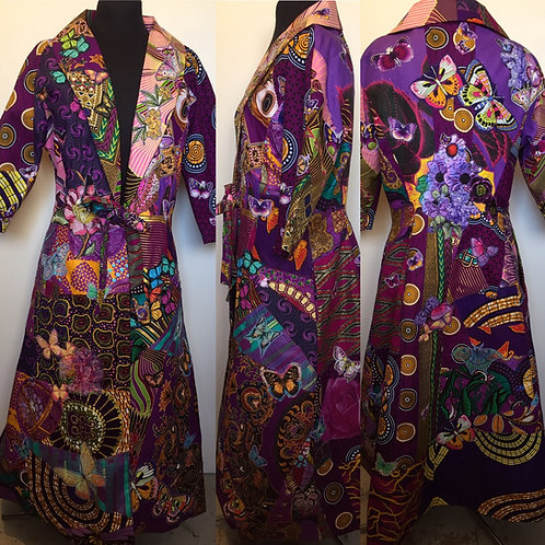 50s style purple tie front waisted coat