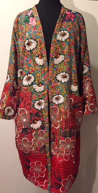 Colourful art kimono by Diane Goldie daisies
