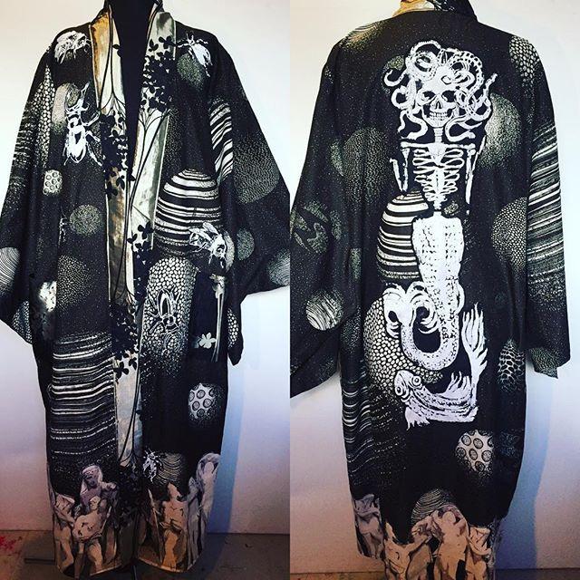 Black hand made art kimono with Medusa goddess art