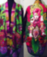 Pink and green Bowie art kimono wearable art