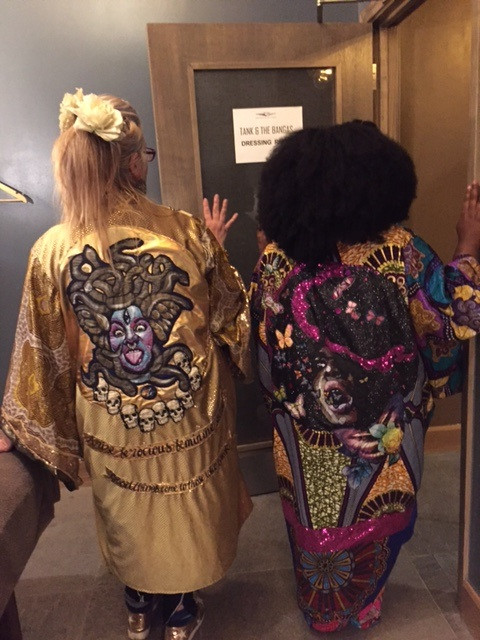 Diane Goldie and Tank of the Bangas wearing portrait kimonos