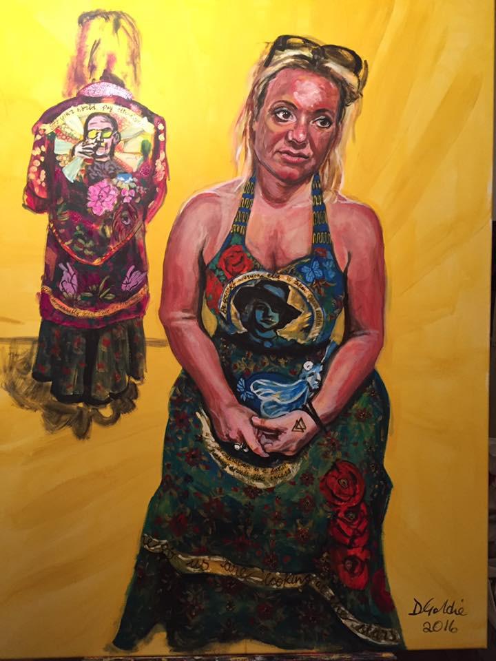 portrait painting of woman wearing beautiful art