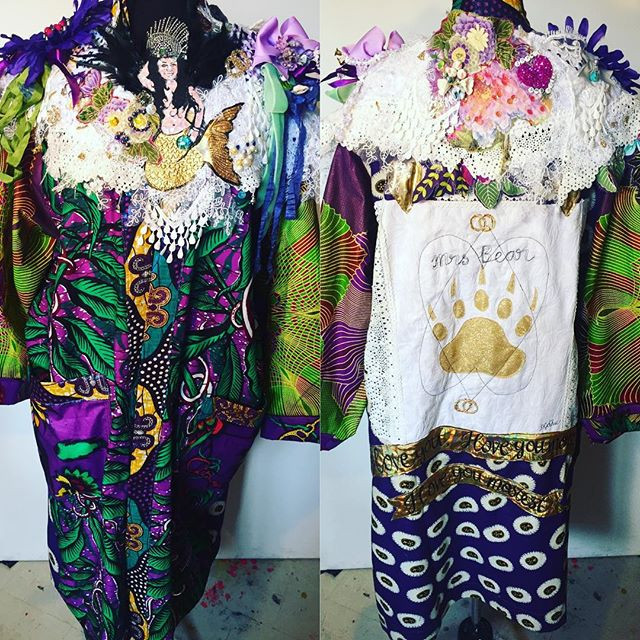 Hand made art wedding kimono and decorative art collar
