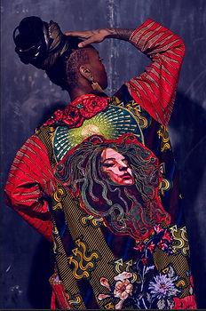 Medusa art kimono green red