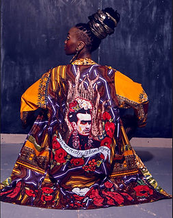 Art kimono with male Frida Kahlo poppies