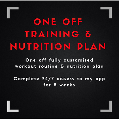 One Off Personalised Training & Nutrition plan