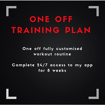 One Off Personalised Training Plan