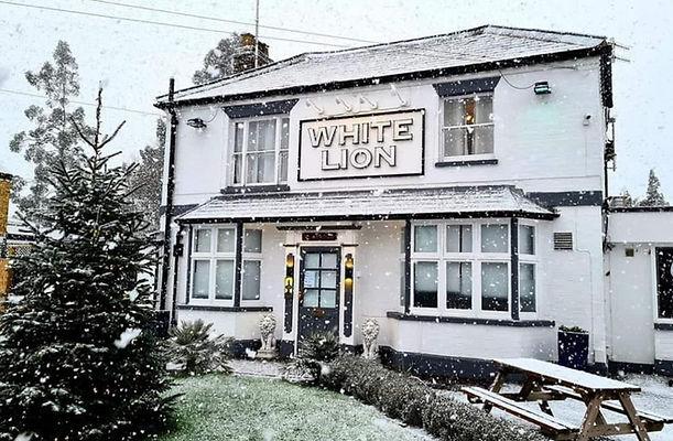 Snow Covered Pub White Lion Country Pub