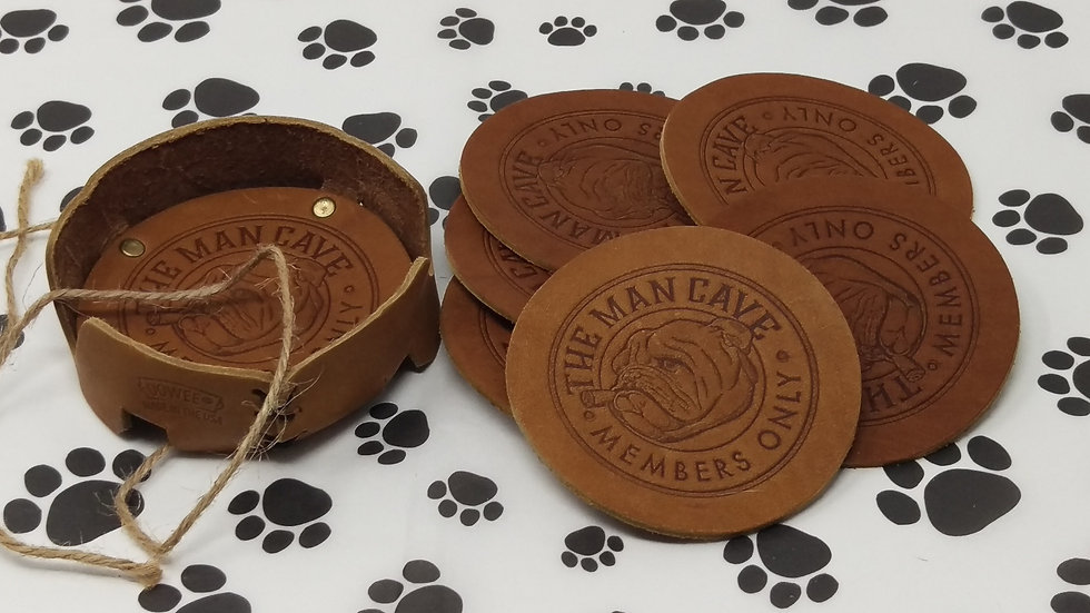The Man Cave - Leather Coasters Set of 6