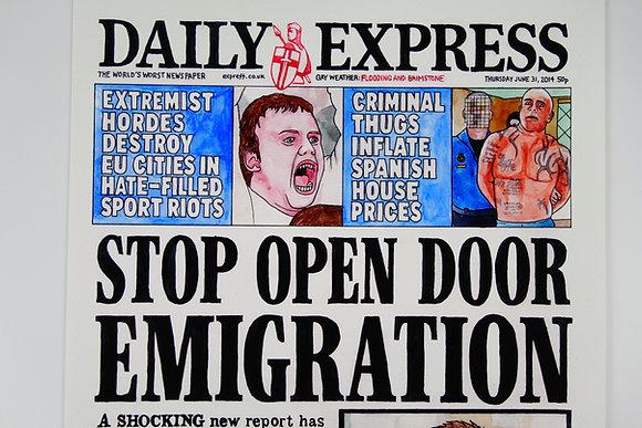 Stop Open Door Emigration - Limited edition giclee print