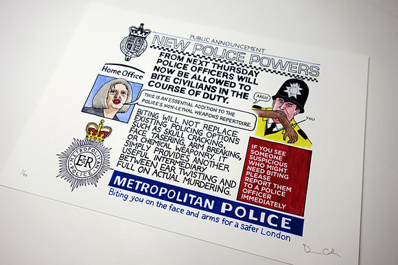 New Police Biting Powers - Limited edition giclee print