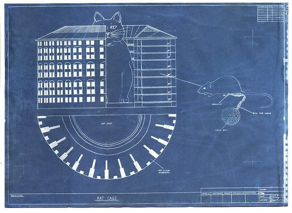 Cyanotype Blueprints - Rat Cage, Rat Gallows, Mechanical Automated Rat Wheel