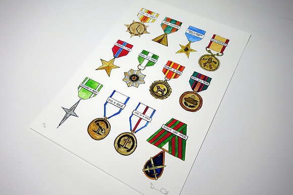Shiny Shiny Medals - Limited edition giclee print