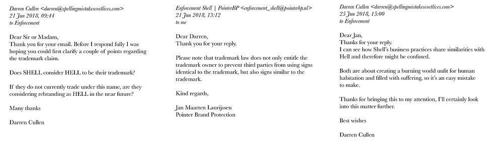 My correspondence with Shell's lawyer
