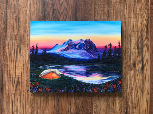 Blooming Alpine Night Wood Print