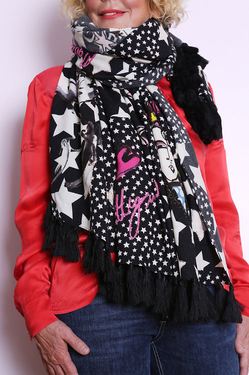 Colourful Scarf With Tassels And Punk Print - Maison Common
