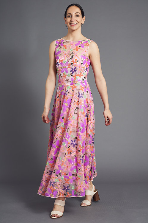 Pink Overjoy Dress - Summer Floral Embroidery Dress - Maison Common